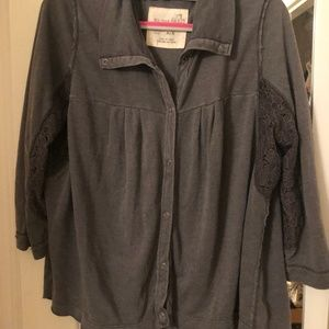 Free People 3/4 Length Button-Down Blouse
